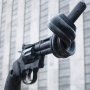 Knotted gun sculpture in front of UN