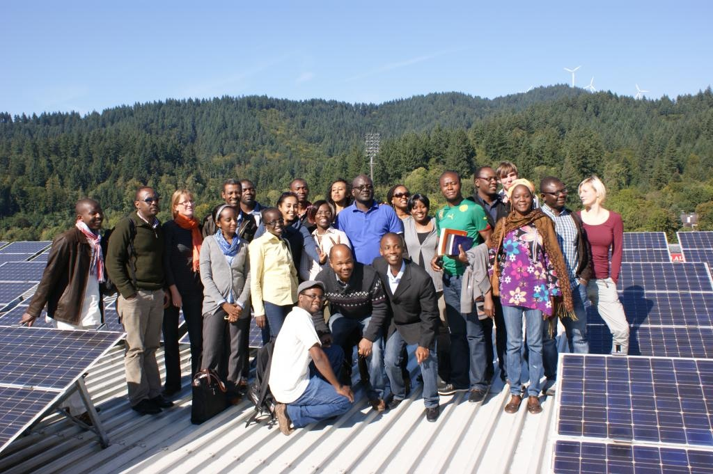 Participants on the solar rooftop of Freiburg's football stadium | Freiburg Workshop