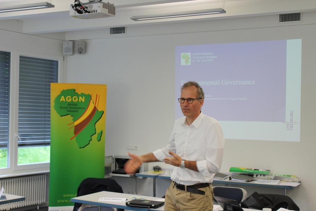 Professor for Environmental Governance giving a presentation
