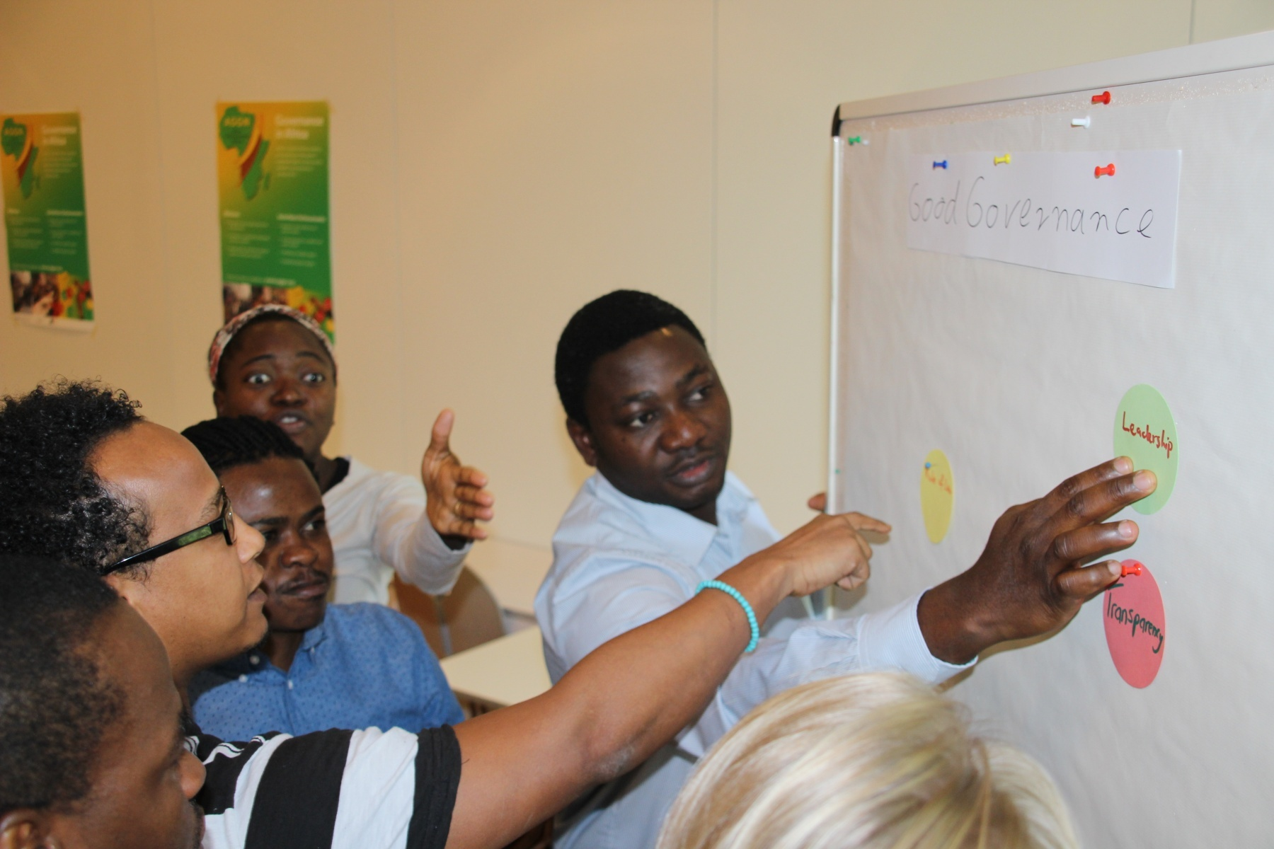 AGGN fellows discussing the components of Good Governance