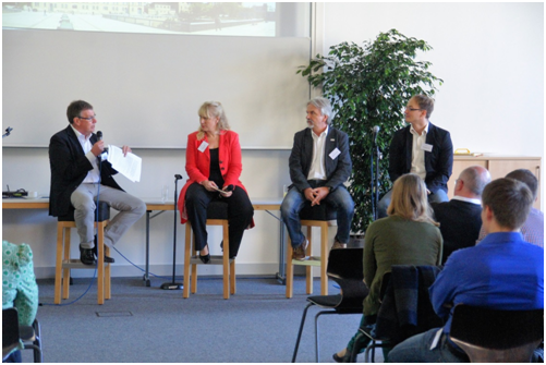 From left to right: Prof. Dr. Rolf Wortmann, Prof. Dr. Gesa Birnkraut, Albert Recknagel and Sebastian Joy         © Jacques Nyembe, September 2016