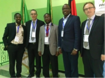 Left to right: Dr. Eric Tambo (AGGN), Prof. Zerga Abdellatif (Director of Pan African University), Andrew Chilombo (AGGN), Dr. Justus Massa (AGGN) and Lars Gerold (DAAD)